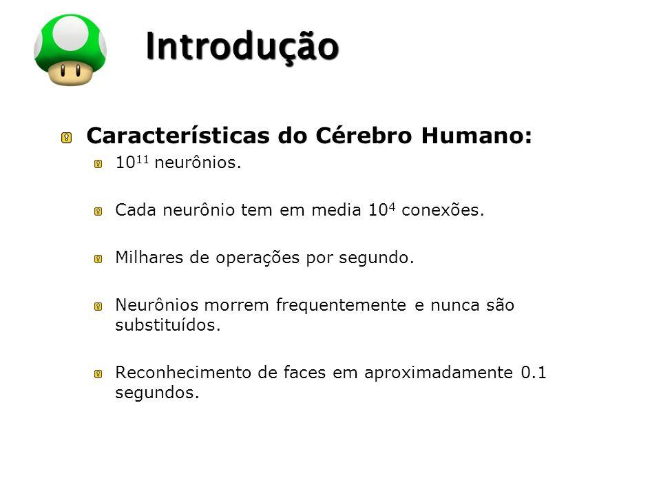 LOGO Introdução Características do Cérebro Humano: 10 11 neurônios. Cada neurônio tem em media 10 4 conexões. Milhares de operações por segundo. Neurô