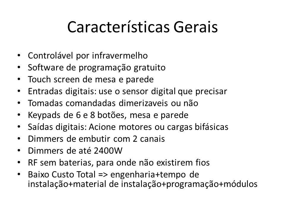 Características Gerais Controlável por infravermelho Software de programação gratuito Touch screen de mesa e parede Entradas digitais: use o sensor di
