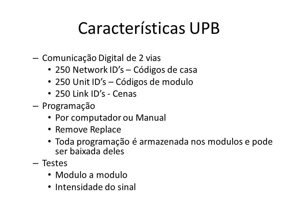 Características UPB – Comunicação Digital de 2 vias 250 Network IDs – Códigos de casa 250 Unit IDs – Códigos de modulo 250 Link IDs - Cenas – Programação Por computador ou Manual Remove Replace Toda programação é armazenada nos modulos e pode ser baixada deles – Testes Modulo a modulo Intensidade do sinal