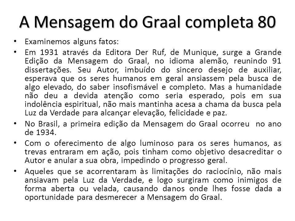 A Mensagem do Graal completa 80 Examinemos alguns fatos: Em 1931 através da Editora Der Ruf, de Munique, surge a Grande Edição da Mensagem do Graal, n