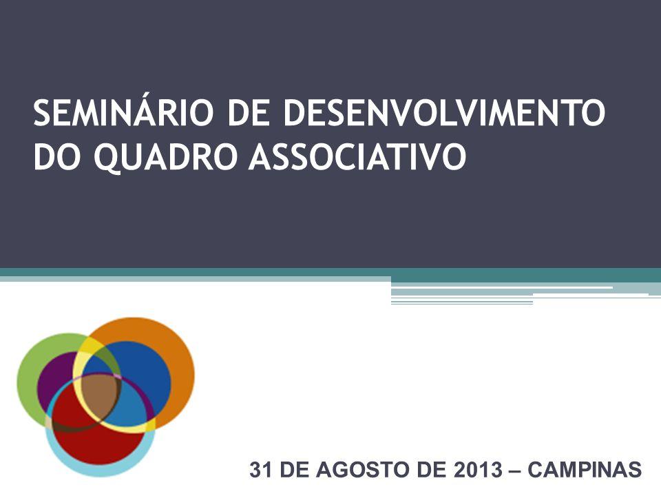 SEMINÁRIO DE DESENVOLVIMENTO DO QUADRO ASSOCIATIVO 31 DE AGOSTO DE 2013 – CAMPINAS