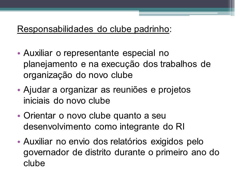 Responsabilidades do clube padrinho: Auxiliar o representante especial no planejamento e na execução dos trabalhos de organização do novo clube Ajudar