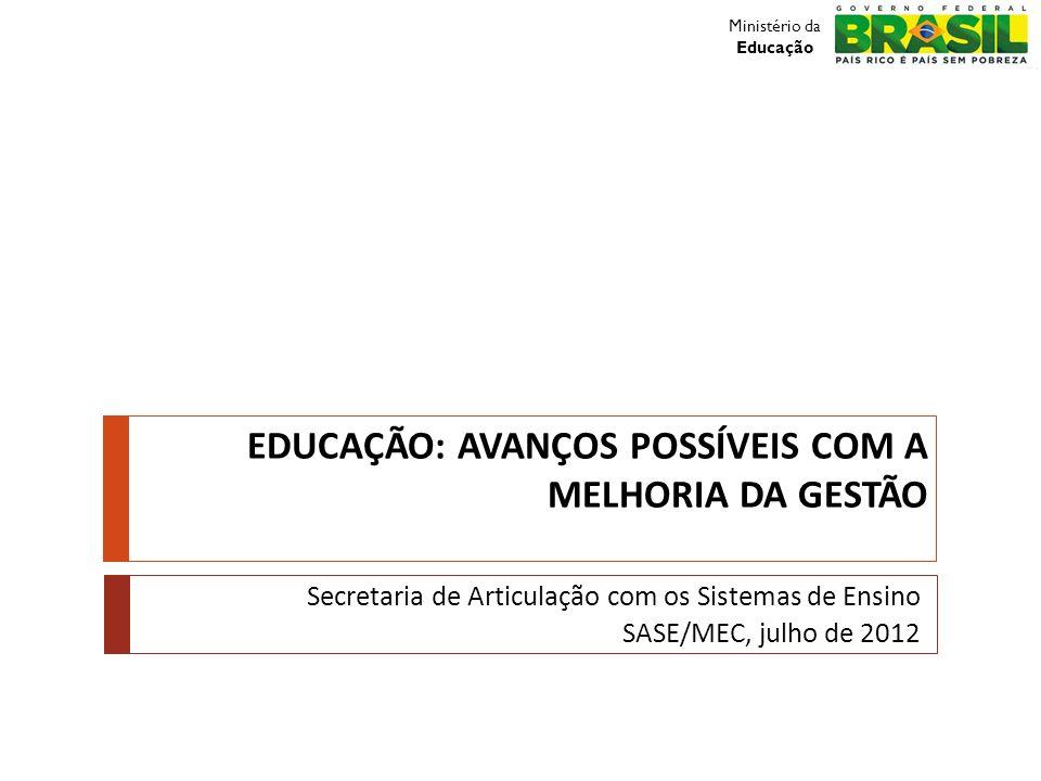 EDUCAÇÃO: AVANÇOS POSSÍVEIS COM A MELHORIA DA GESTÃO Secretaria de Articulação com os Sistemas de Ensino SASE/MEC, julho de 2012 Ministério da Educaçã