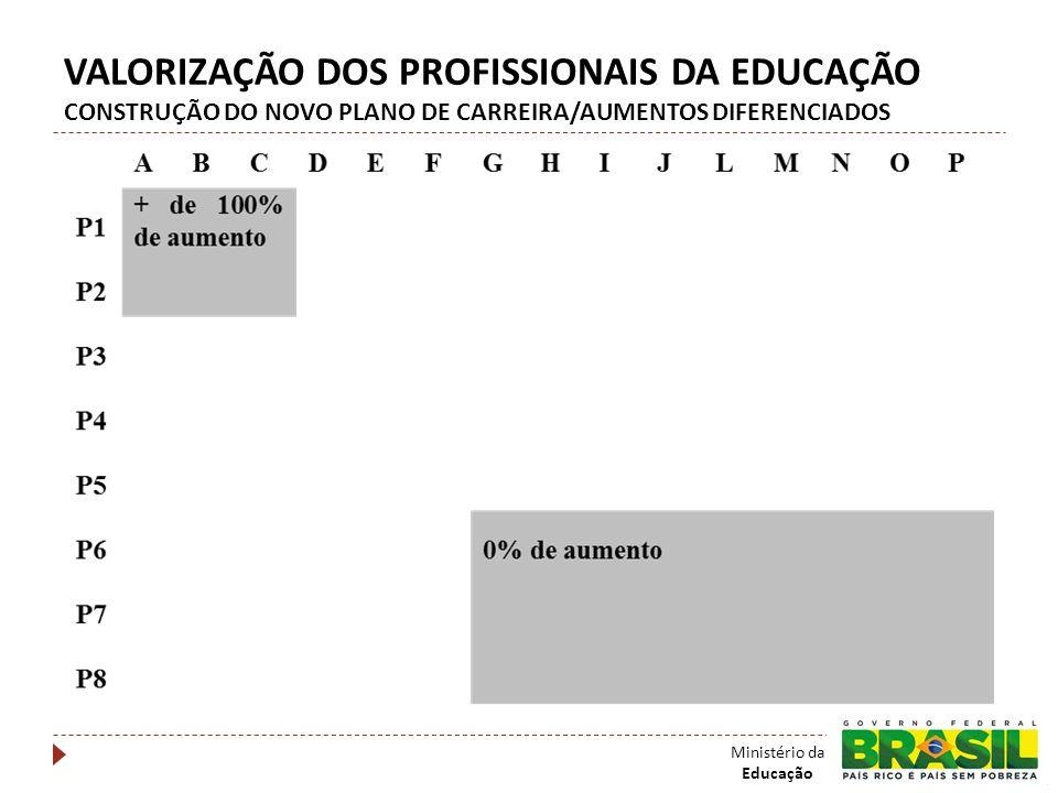VALORIZAÇÃO DOS PROFISSIONAIS DA EDUCAÇÃO CONSTRUÇÃO DO NOVO PLANO DE CARREIRA/AUMENTOS DIFERENCIADOS Ministério da Educação