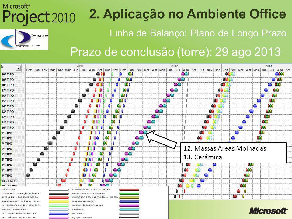 2. Aplicação no Ambiente Office Linha de Balanço: Plano de Longo Prazo Prazo de conclusão (torre): 29 ago 2013 12. Massas Áreas Molhadas 13. Cerâmica