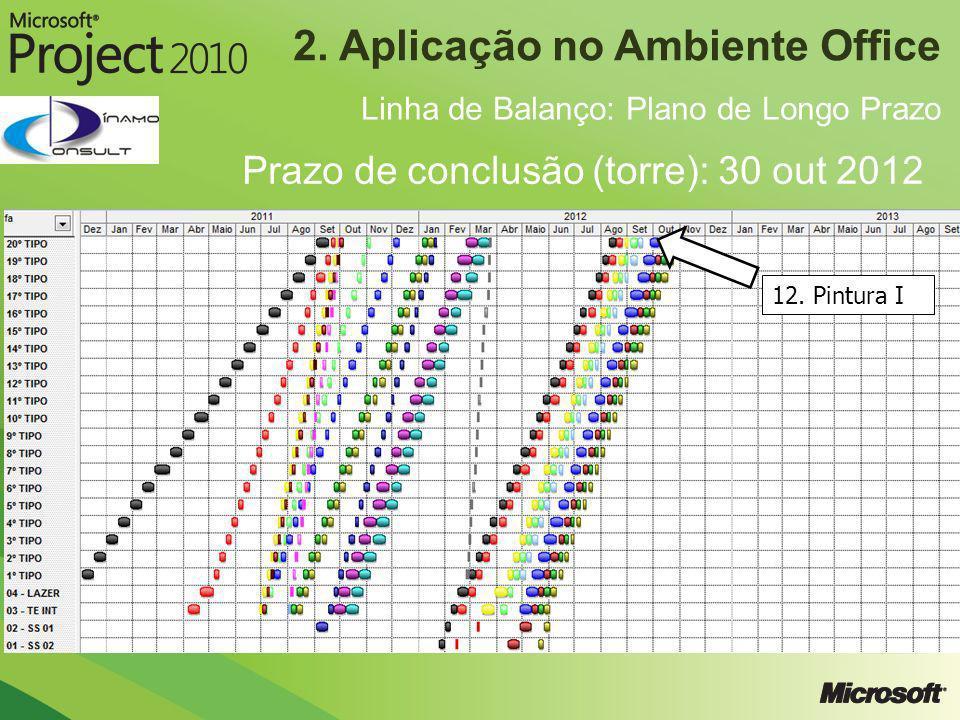 2. Aplicação no Ambiente Office Linha de Balanço: Plano de Longo Prazo Prazo de conclusão (torre): 30 out 2012 12. Pintura I