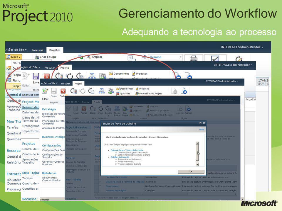 Gerenciamento do Workflow Adequando a tecnologia ao processo
