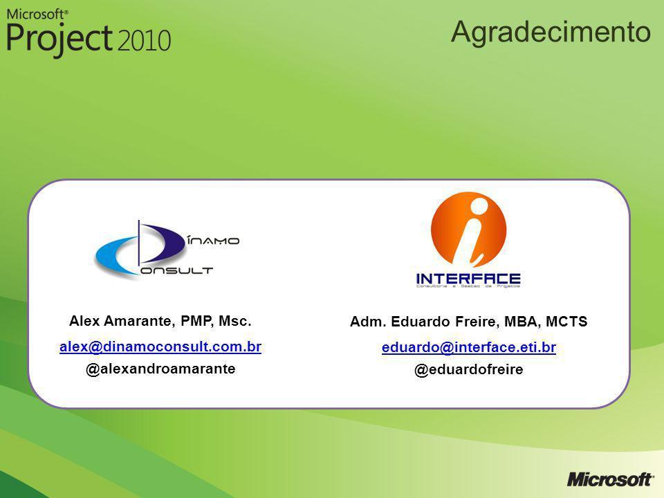 Agradecimento Alex Amarante, PMP, Msc. alex@dinamoconsult.com.br @alexandroamarante Adm. Eduardo Freire, MBA, MCTS eduardo@interface.eti.br @eduardofr