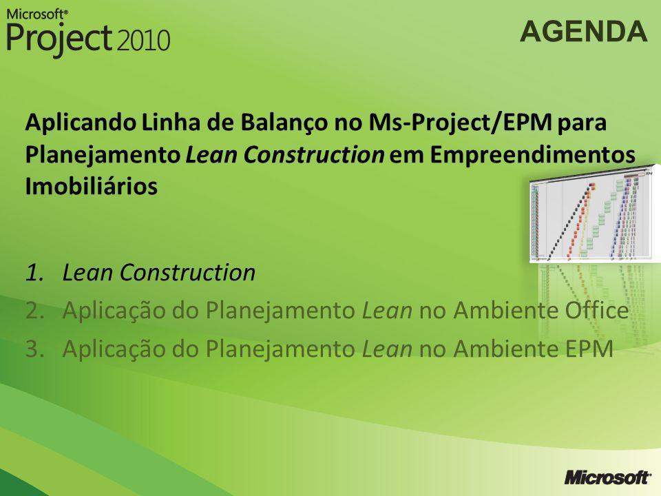 AGENDA Aplicando Linha de Balanço no Ms-Project/EPM para Planejamento Lean Construction em Empreendimentos Imobiliários 1.Lean Construction 2.Aplicaçã