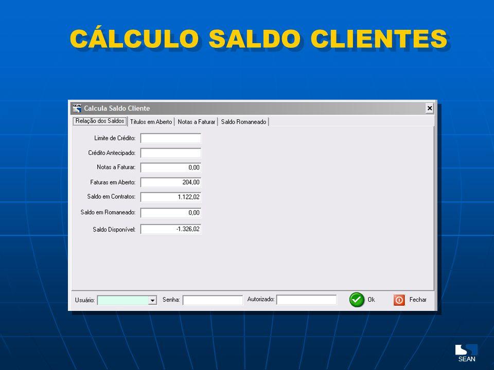 Limite de crédito CÁLCULO SALDO CLIENTES SEAN