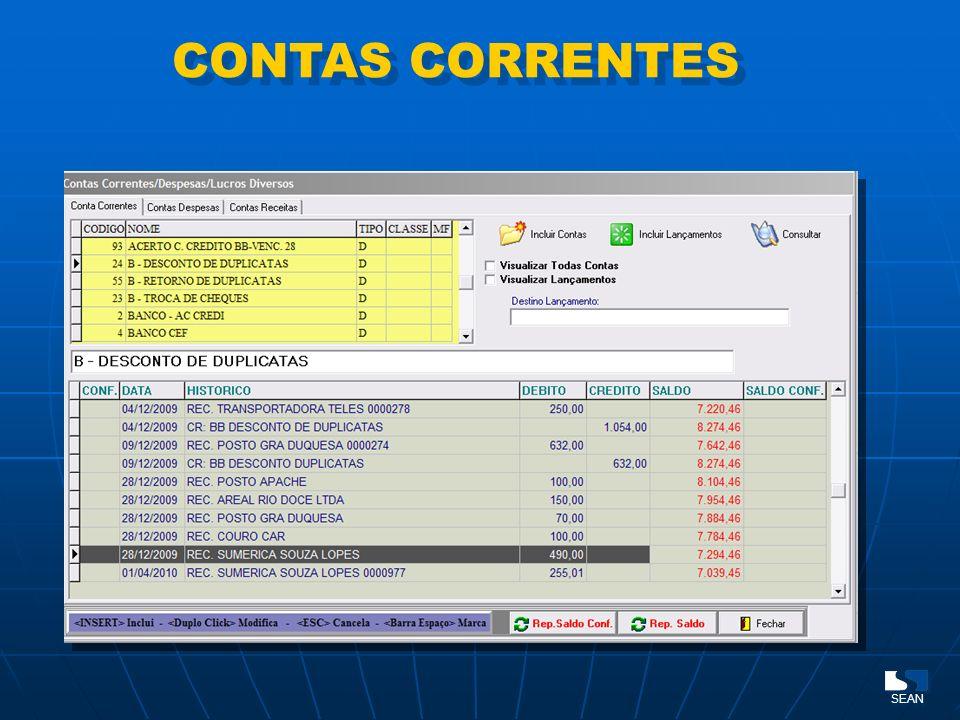 CONTAS CORRENTES SEAN