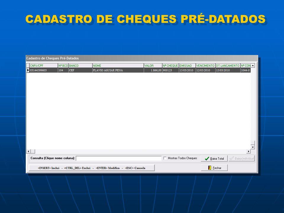 CADASTRO DE CHEQUES PRÉ-DATADOS