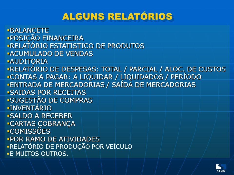 ALGUNS RELATÓRIOS BALANCETE BALANCETE POSIÇÃO FINANCEIRA POSIÇÃO FINANCEIRA RELATÓRIO ESTATISTICO DE PRODUTOS RELATÓRIO ESTATISTICO DE PRODUTOS ACUMUL