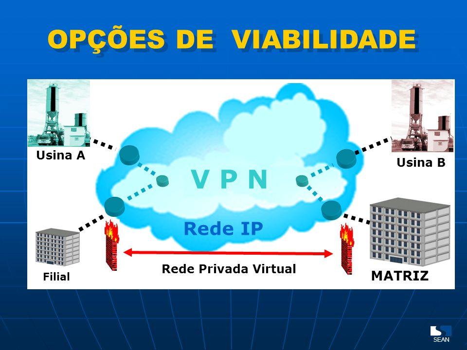 OPÇÕES DE VIABILIDADE MATRIZ Filial Usina B Usina A Rede Privada Virtual V P N Rede IP