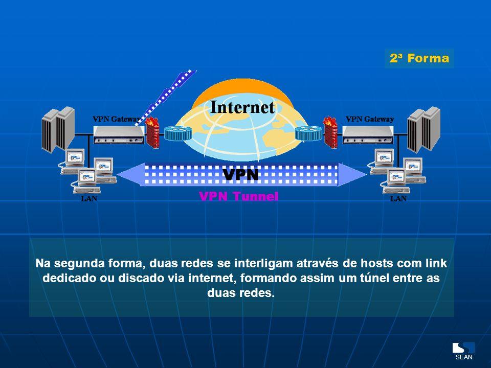 Na segunda forma, duas redes se interligam através de hosts com link dedicado ou discado via internet, formando assim um túnel entre as duas redes. SE