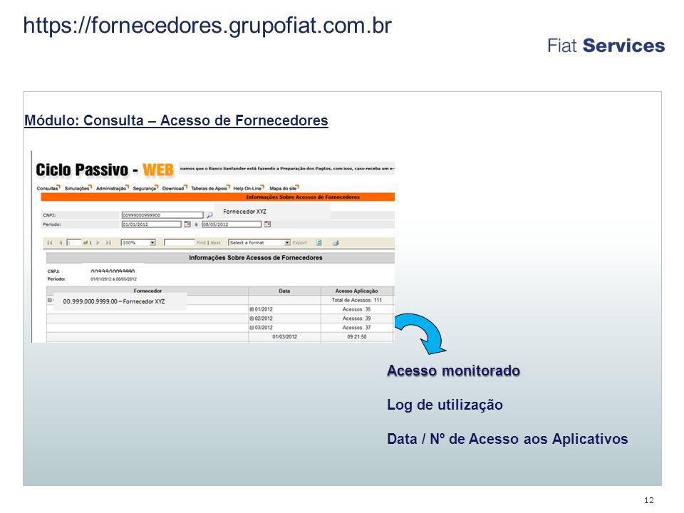 https://fornecedores.grupofiat.com.br 12 Módulo: Consulta – Acesso de Fornecedores Acesso monitorado Log de utilização Data / Nº de Acesso aos Aplicativos