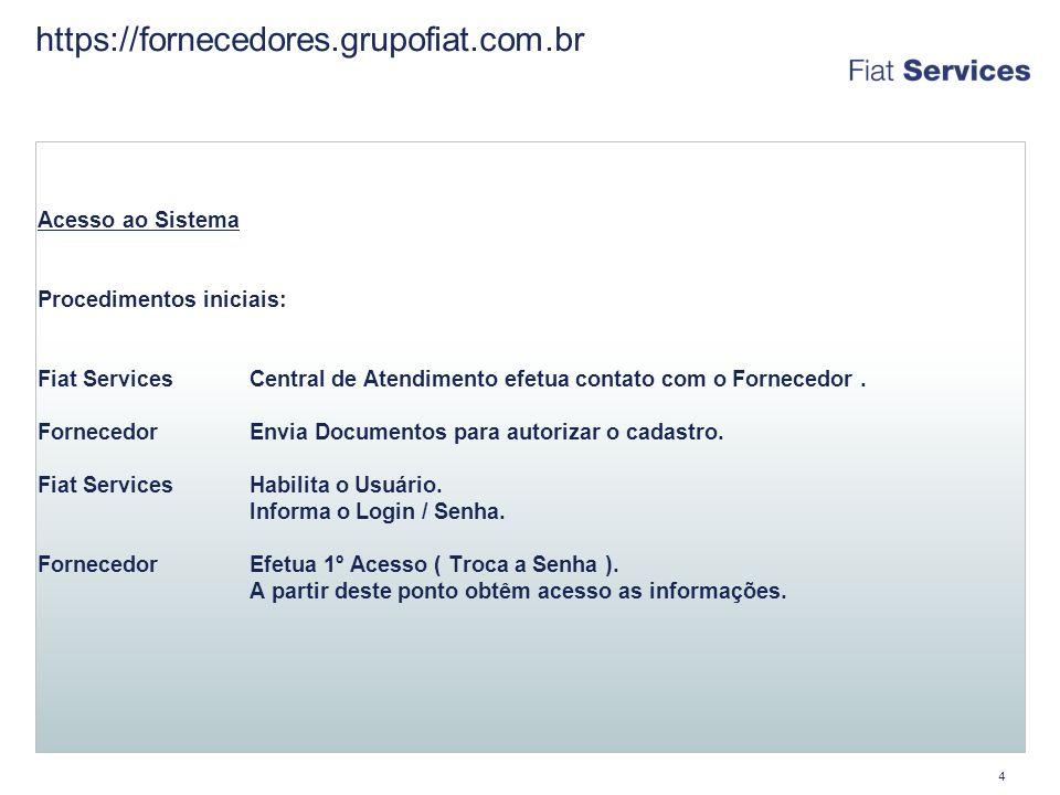 4 https://fornecedores.grupofiat.com.br Acesso ao Sistema Procedimentos iniciais: Fiat ServicesCentral de Atendimento efetua contato com o Fornecedor.