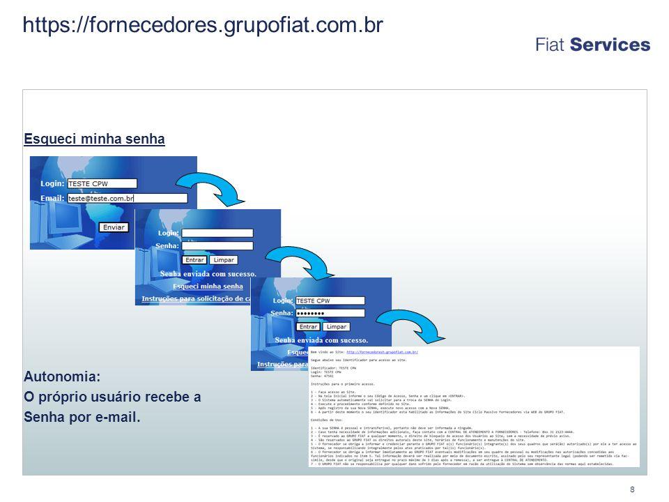 https://fornecedores.grupofiat.com.br 8 Esqueci minha senha Troca de Autonomia: O próprio usuário recebe a Senha por e-mail.