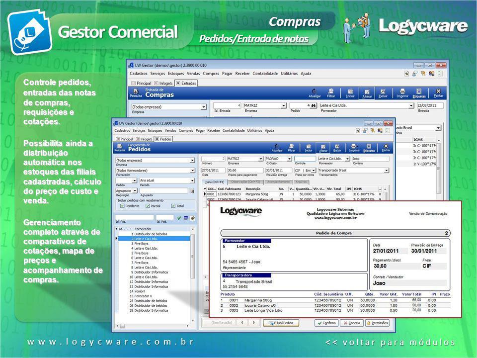 Compras Pedidos/Entrada de notas www.logycware.com.br << voltar para módulos << voltar para módulos Controle pedidos, entradas das notas de compras, r