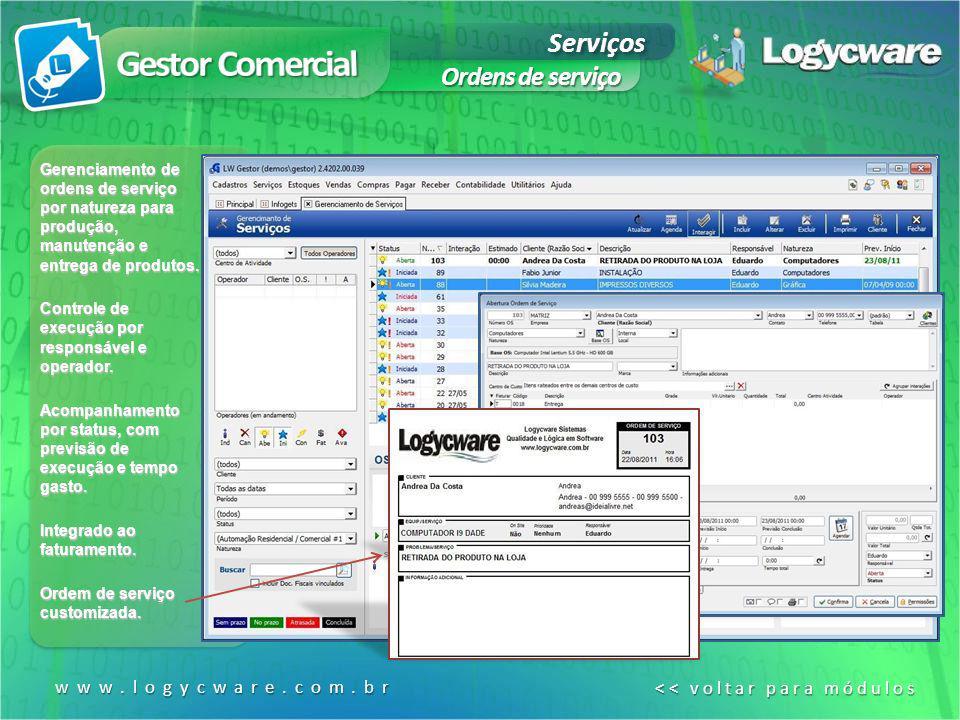 Serviços Ordens de serviço www.logycware.com.br << voltar para módulos << voltar para módulos Gerenciamento de ordens de serviço por natureza para pro
