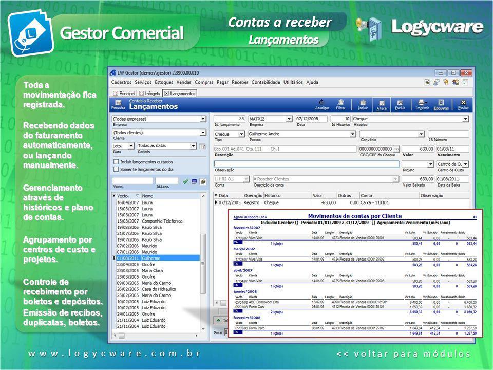 Contas a receber Lançamentos www.logycware.com.br << voltar para módulos << voltar para módulos Toda a movimentação fica registrada. Recebendo dados d