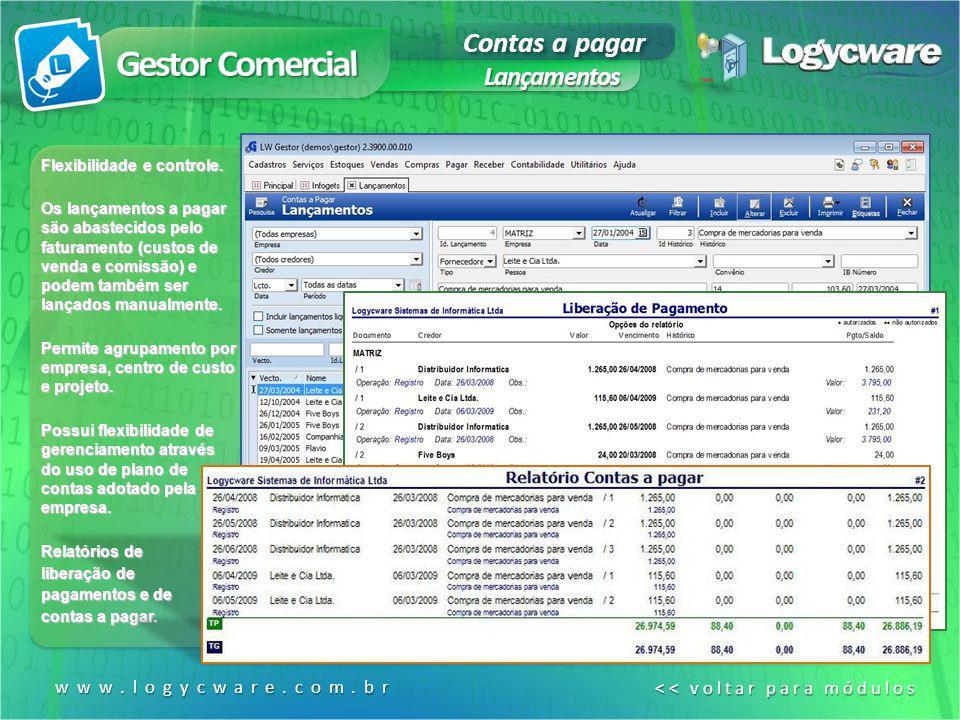 Contas a pagar Lançamentos www.logycware.com.br << voltar para módulos << voltar para módulos Flexibilidade e controle. Os lançamentos a pagar são aba