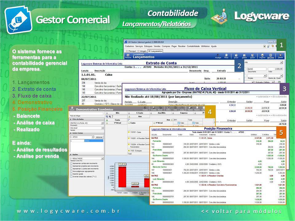 Contabilidade Lançamentos/Relatórios O sistema fornece as ferramentas para a contabilidade gerencial da empresa. 1. Lançamentos 2. Extrato de conta 3.