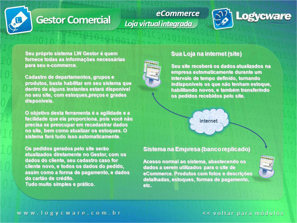 eCommerce Loja virtual integrada www.logycware.com.br << voltar para módulos << voltar para módulos Seu próprio sistema LW Gestor é quem fornece todas