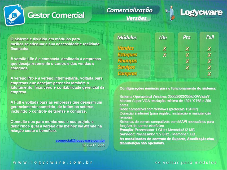 Lite Pro Full Módulos Configurações mínimas para o funcionamento do sistema: Sistema Operacional Windows 2000/2003/2008/XP/Vista/7. Monitor Super VGA