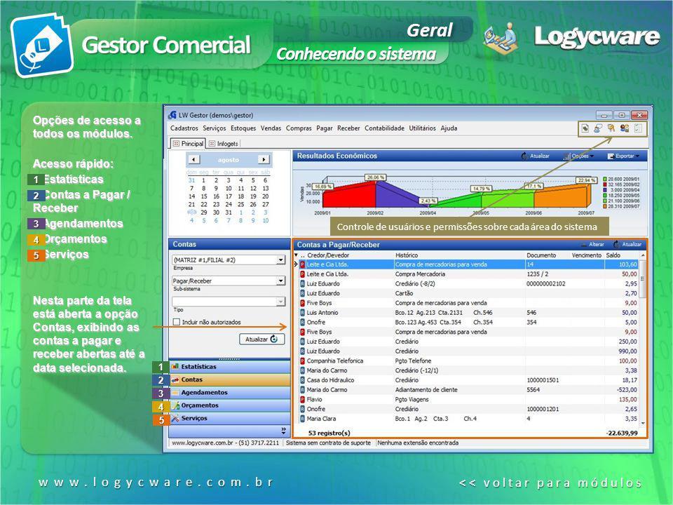 www.logycware.com.br << voltar para módulos << voltar para módulos1 2 3 4 5 Opções de acesso a todos os módulos. Acesso rápido: 1.Estatísticas 2.Conta