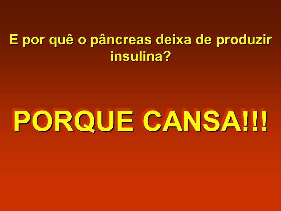 E por quê o pâncreas deixa de produzir insulina? PORQUE CANSA!!!