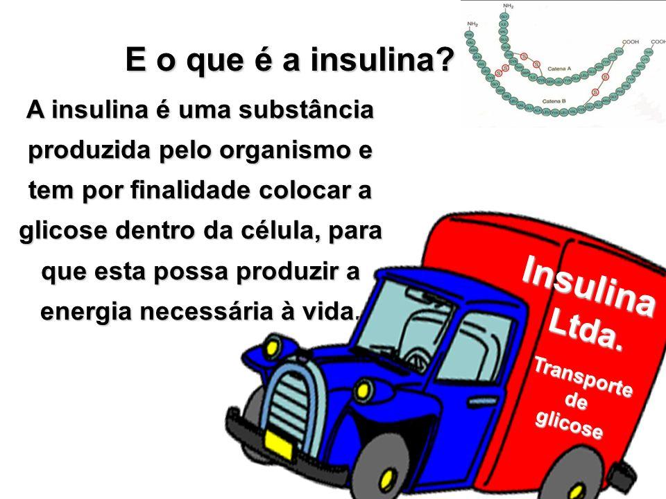 A insulina é uma substância produzida pelo organismo e tem por finalidade colocar a glicose dentro da célula, para que esta possa produzir a energia n