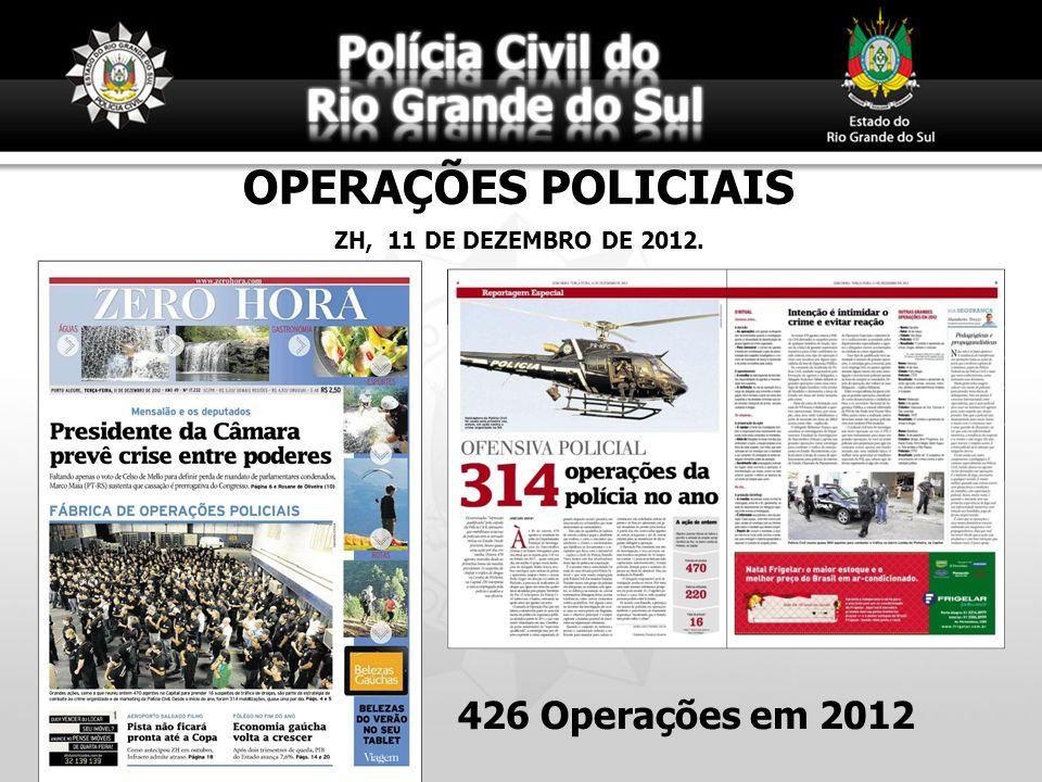 OPERAÇÕES POLICIAIS ZH, 11 DE DEZEMBRO DE 2012. 426 Operações em 2012
