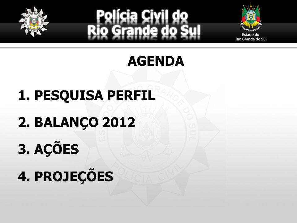 AGENDA 1. 1. PESQUISA PERFIL 2. 2. BALANÇO 2012 3. 3. AÇÕES 4. 4. PROJEÇÕES