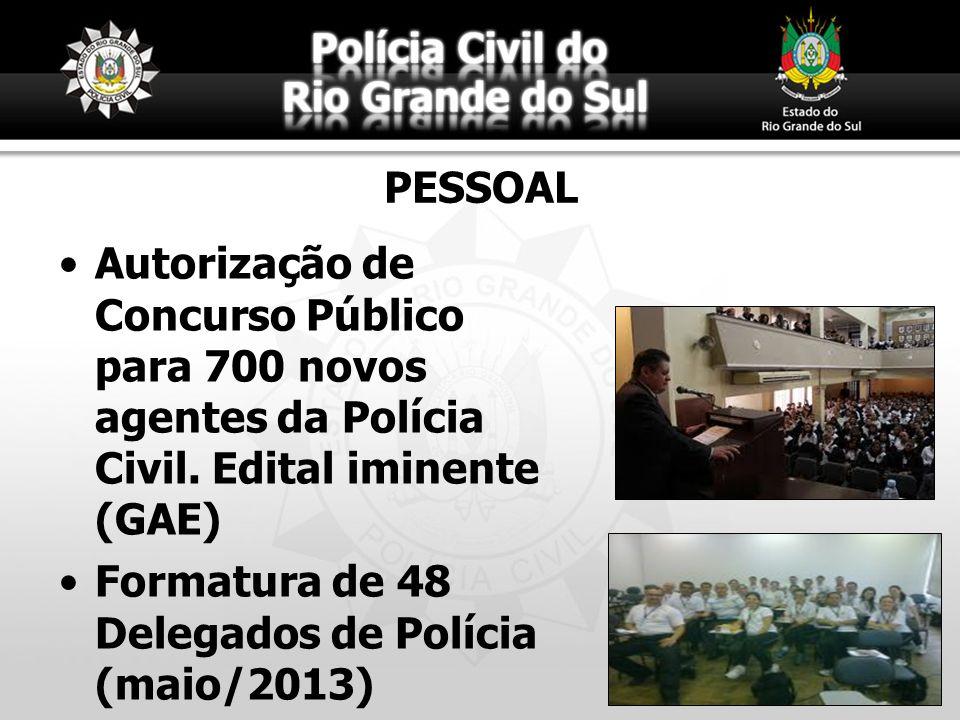 PESSOAL Autorização de Concurso Público para 700 novos agentes da Polícia Civil. Edital iminente (GAE) Formatura de 48 Delegados de Polícia (maio/2013