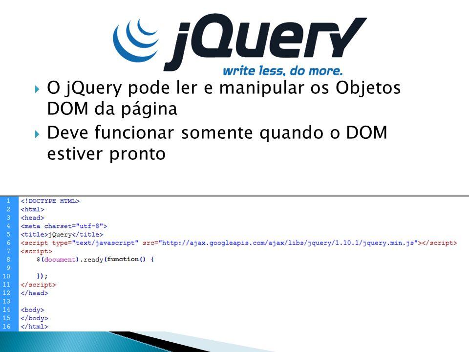 O jQuery pode ler e manipular os Objetos DOM da página Deve funcionar somente quando o DOM estiver pronto