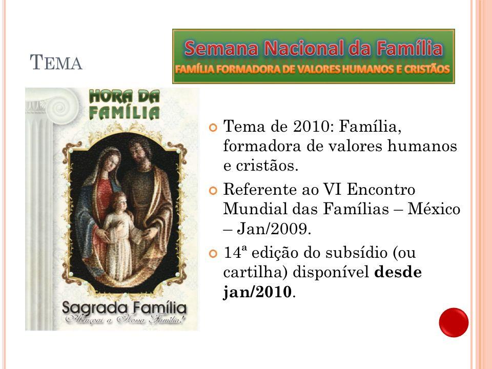 U TILIZANDO O SUBSÍDIO DE 2010 Hora da Família 11