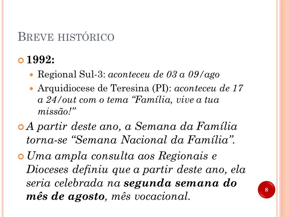 B REVE HISTÓRICO 1991 1991 : 05 a 11/ago – Regional Sul-3: com o tema Família: primeiro núcleo cultural de evangelização e o lema Senhor, que queres d
