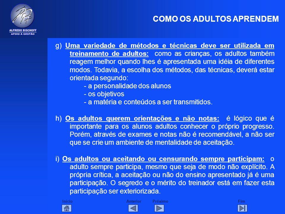 InícioFimAnteriorPróximo COMO OS ADULTOS APRENDEM g) Uma variedade de métodos e técnicas deve ser utilizada em treinamento de adultos: como as criança