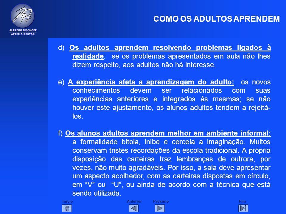 InícioFimAnteriorPróximo COMO OS ADULTOS APRENDEM d) Os adultos aprendem resolvendo problemas ligados à realidade: se os problemas apresentados em aul