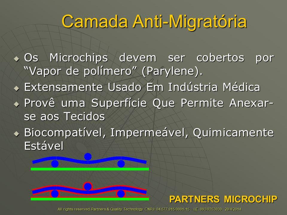 Camada Anti-Migratória Os Microchips devem ser cobertos por Vapor de polímero (Parylene).