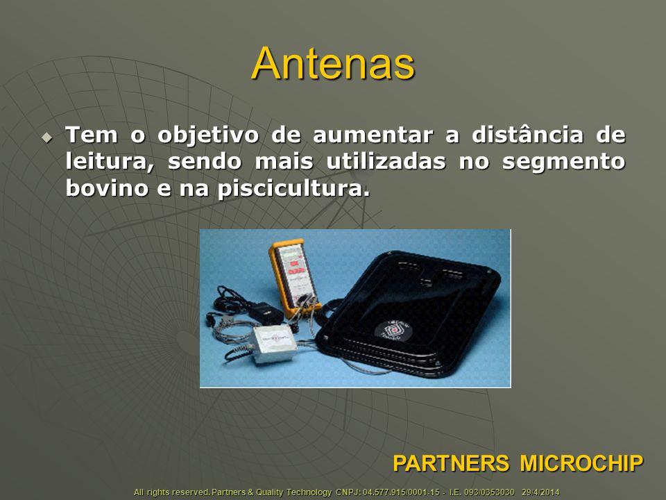 Antenas Tem o objetivo de aumentar a distância de leitura, sendo mais utilizadas no segmento bovino e na piscicultura.
