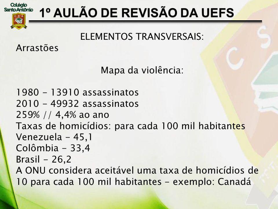 1º AULÃO DE REVISÃO DA UEFS ELEMENTOS TRANSVERSAIS: Arrastões Mapa da violência: 1980 - 13910 assassinatos 2010 - 49932 assassinatos 259% // 4,4% ao a