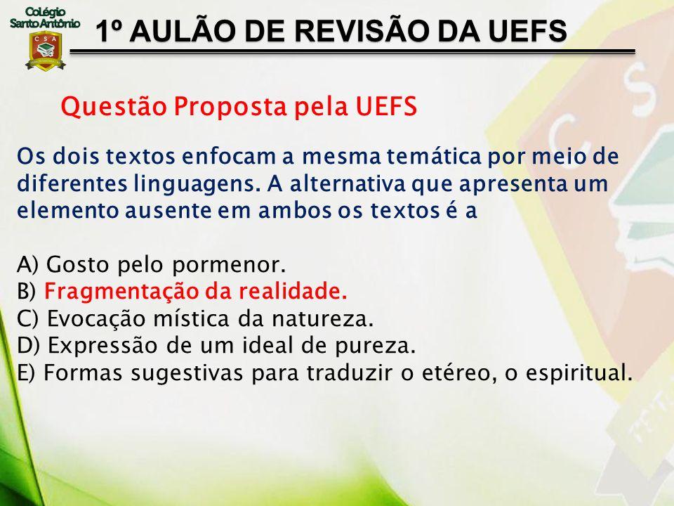 1º AULÃO DE REVISÃO DA UEFS Questão Proposta pela UEFS Os dois textos enfocam a mesma temática por meio de diferentes linguagens. A alternativa que ap