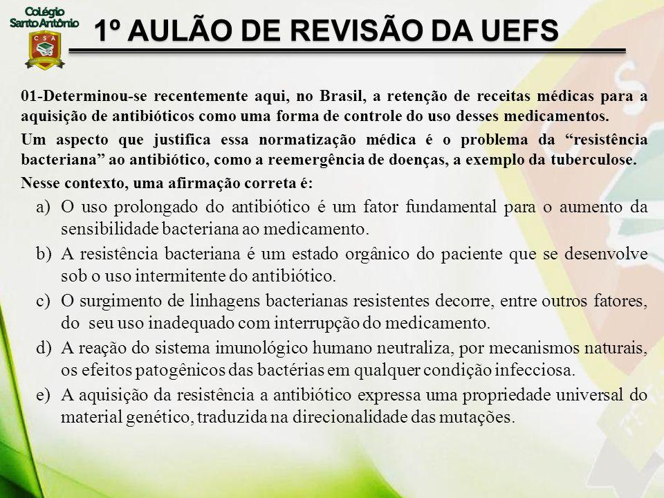 01-Determinou-se recentemente aqui, no Brasil, a retenção de receitas médicas para a aquisição de antibióticos como uma forma de controle do uso desse