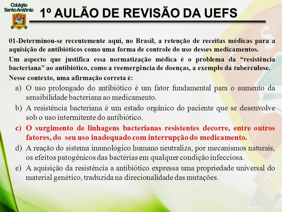 1º AULÃO DE REVISÃO DA UEFS 01-Determinou-se recentemente aqui, no Brasil, a retenção de receitas médicas para a aquisição de antibióticos como uma fo
