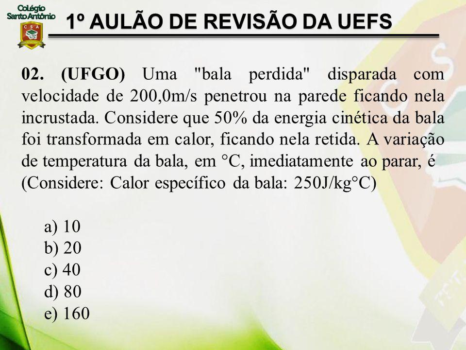 1º AULÃO DE REVISÃO DA UEFS 02. (UFGO) Uma
