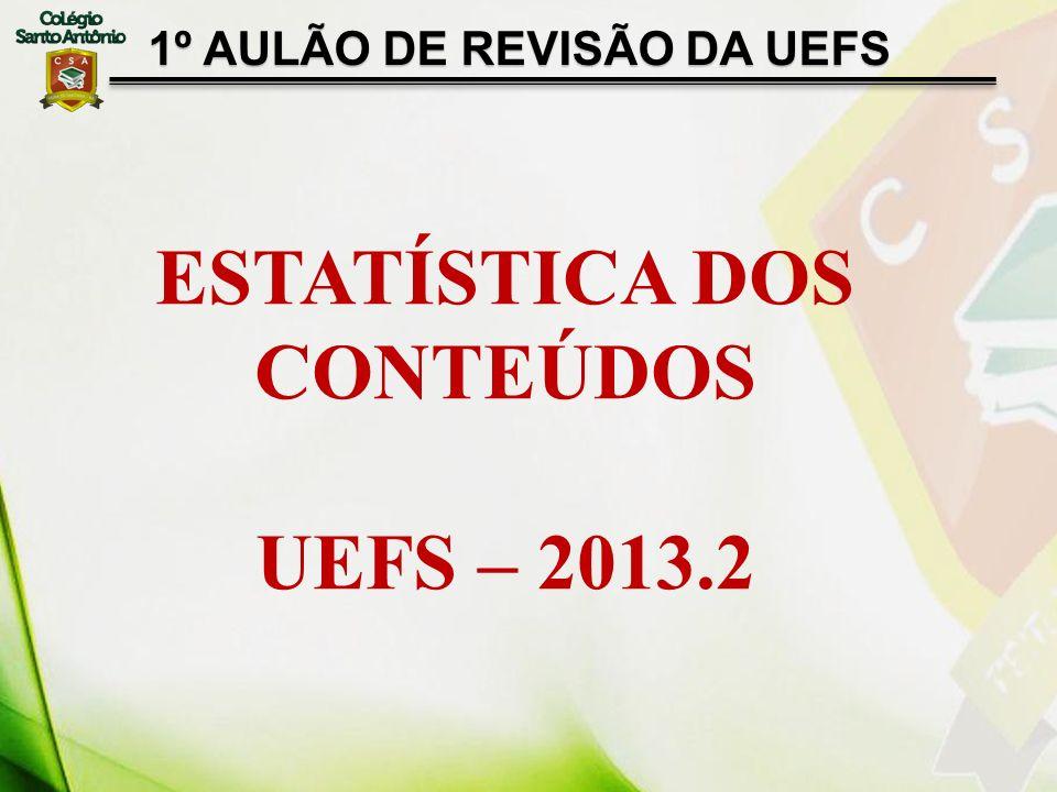 1º AULÃO DE REVISÃO DA UEFS ESTATÍSTICA DOS CONTEÚDOS UEFS – 2013.2
