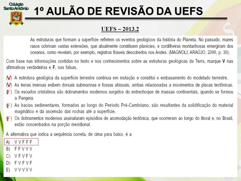 1º AULÃO DE REVISÃO DA UEFS UEFS – 2013.2 VVFFFVVFFF