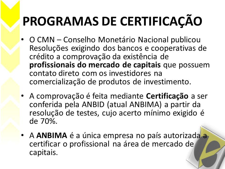 PROGRAMAS DE CERTIFICAÇÃO O CMN – Conselho Monetário Nacional publicou Resoluções exigindo dos bancos e cooperativas de crédito a comprovação da exist